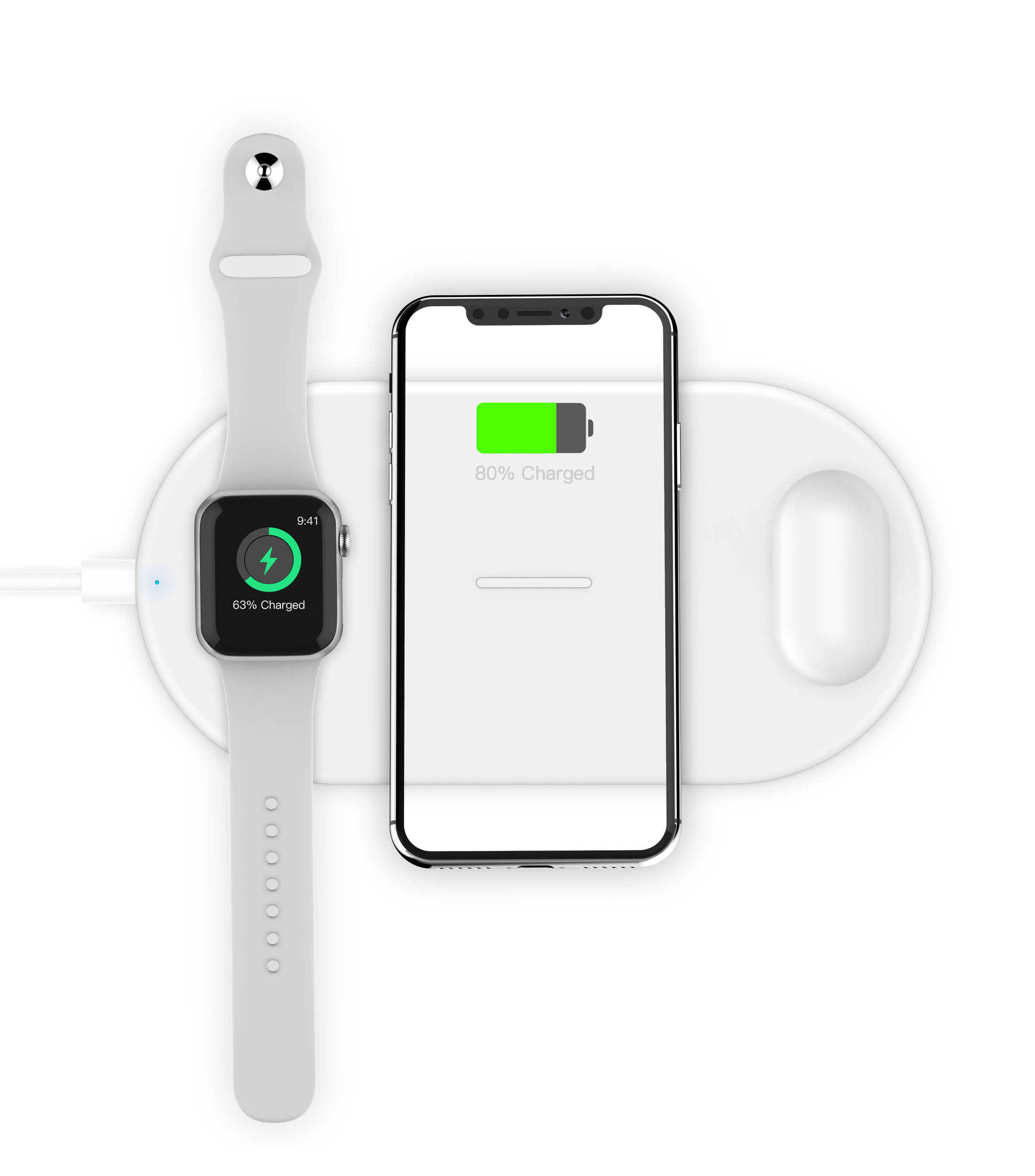 Slim Wireless Charging Pad For Iphone Apple Watch And Airpods